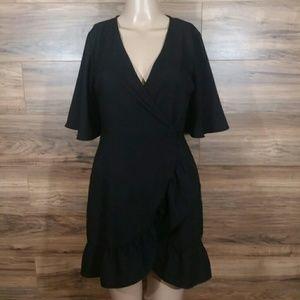 Topshop Black Ruffle Mini Wrap Dress Size 4